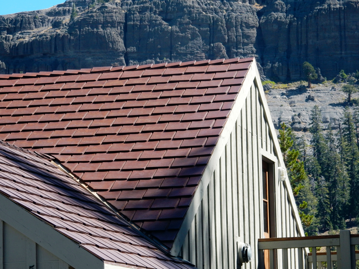 Corten cor-ten weathering steel rusty metal roofing shingles shakes tile